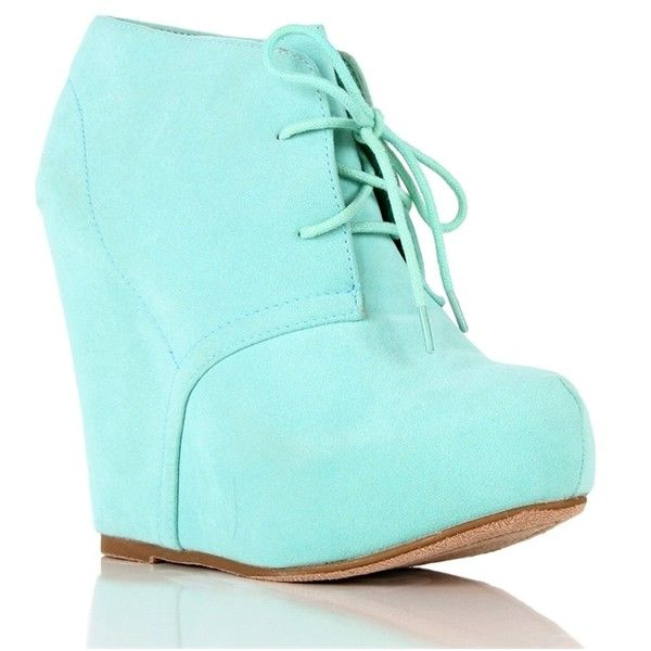 Mint Platform Booties ($33) ❤ liked on Polyvore featuring shoes, boots, ankle booties, heels, wedges, sapatos, lace up boots, heeled booties, platform booties and wedge booties