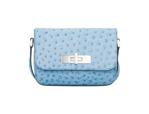 The Mini Missy shoulder bag comes in different variations, such as leather strap, as seen here. It was crafted in the most gorgeous pastel colours of the season, and made using using the softest ostrich print Italian leather. Its small and elegant style is complemented by its roomy interior compartments.