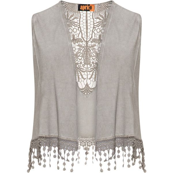 Aprico Taupe-Grey Plus Size Crochet detail waistcoat ($60) ❤ liked on Polyvore featuring outerwear, vests, plus size, grey waistcoat, crop vest, open front vest, gray vest and plus size jerseys