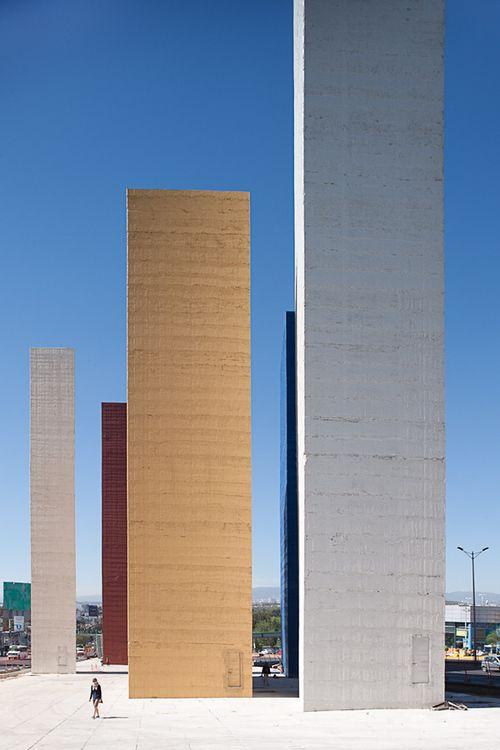 Torres de Satélite, Mexico City.1957–58,Luis Barragan in collaboration with Mathias Goeritz