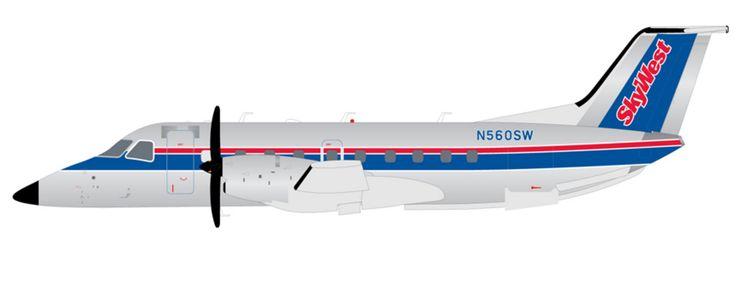 1/200 GeminiJets Skywest Airlines Airlines Embraer EMB-120 Brasilia Diecast Model