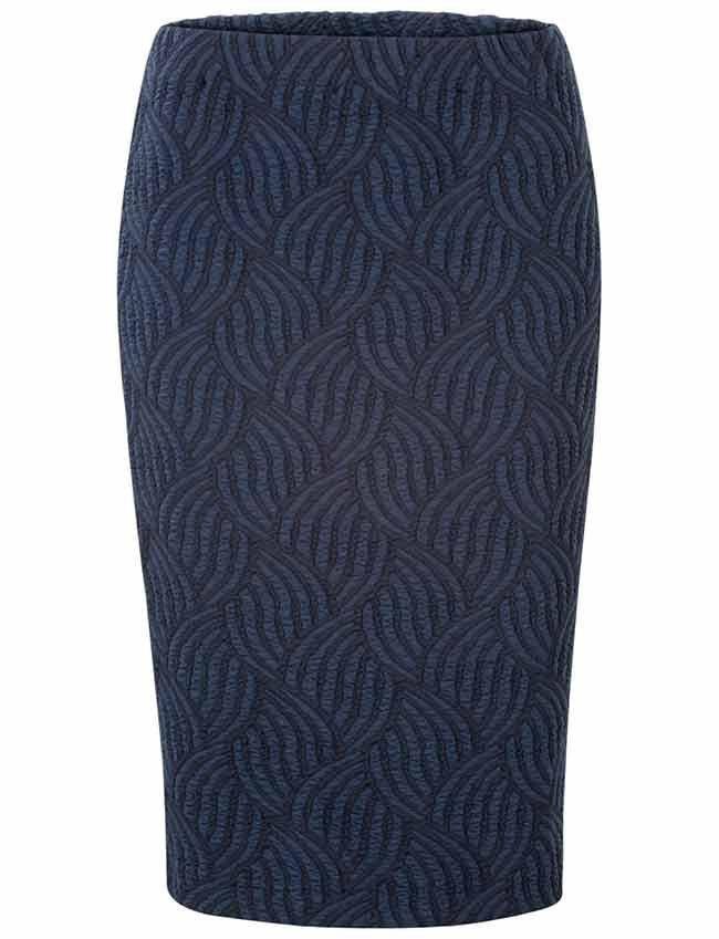 Damesmode, Steps kokerrok met golvend dessin Donker blauw MEER http://www.pops-fashion.com/?p=31882