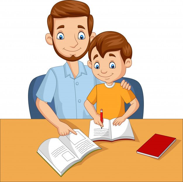 Father Helping His Son Doing Homework Kids Canvas Art Sequencing Activities Kindergarten Father S Day Drawings
