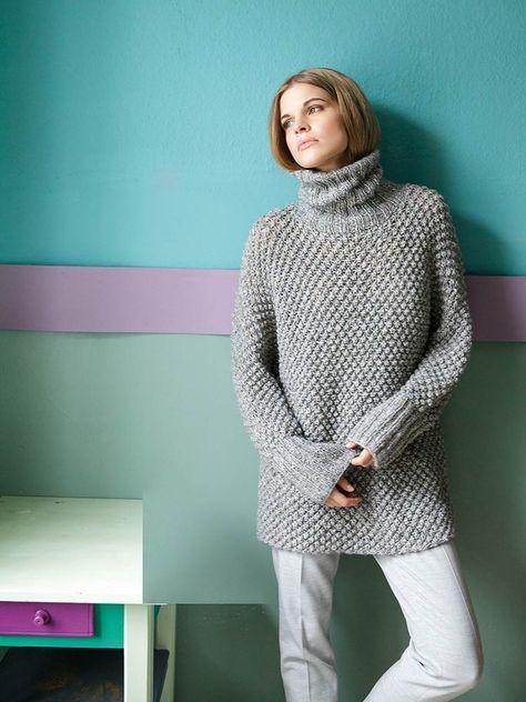 Kostenlose Strickanleitung für einen langen Kimono Pullover mit Rollkragen / free knitting pattern for an oversized pullover. Lana Grossa Anleitung via DaWanda.com