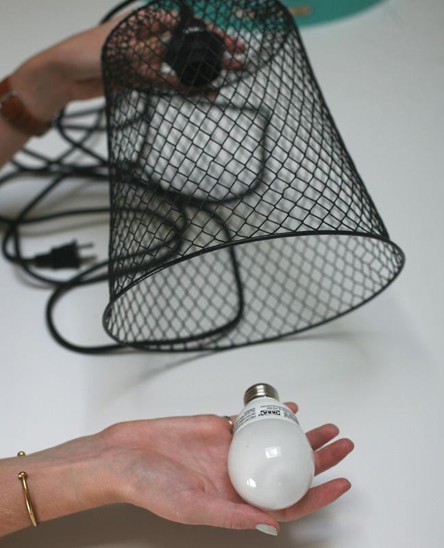 DIY Hanging Lamp from a Wastebasket