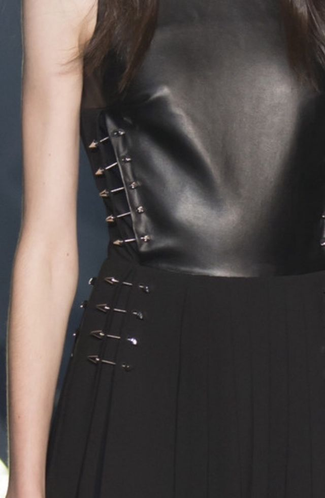 Black leather top & skirt with dart pins; close up fashion details // Philipp Plein Spring 2016