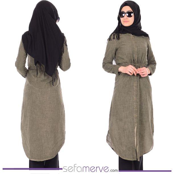 Cepli İp Kemerli Uzun Tunik 2247-02 Yeşil... KARGO BEDAVA! #sefamerve #tesetturgiyim #tesettur #hijab #tesettür