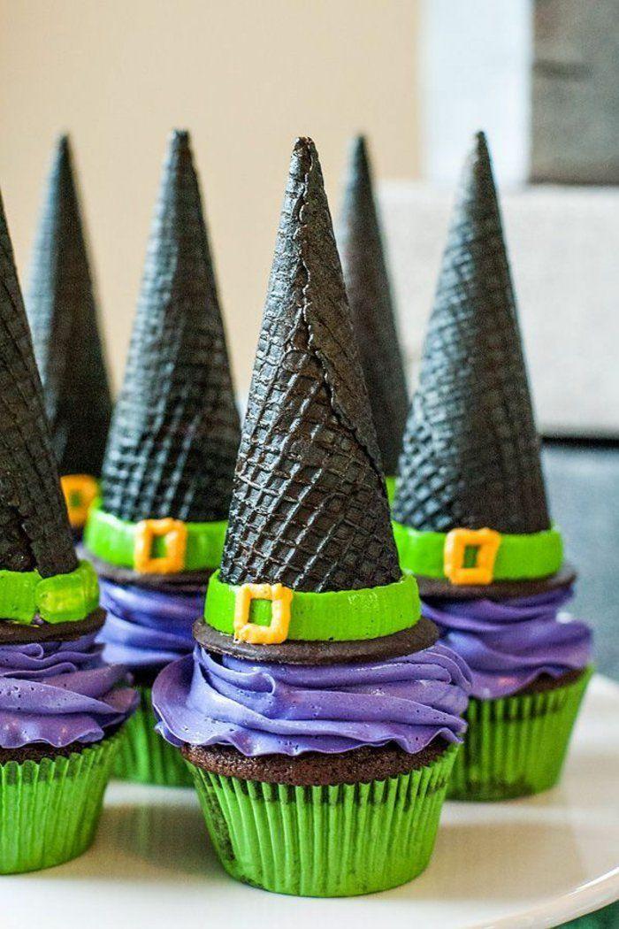 halloween essen mini kuchen backen hexenhut