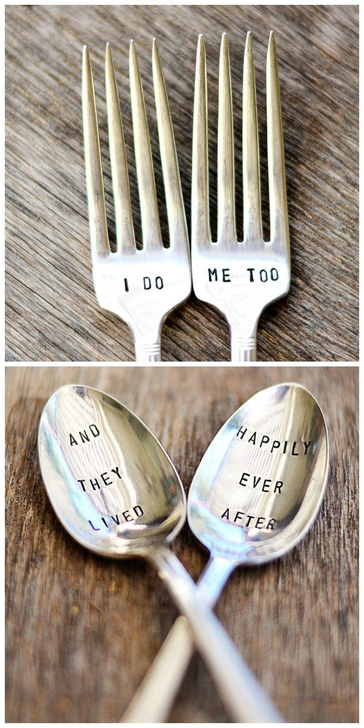 Hand Stamped Vintage Silverware. Such charming gifts for shower, wedding or anniversary.