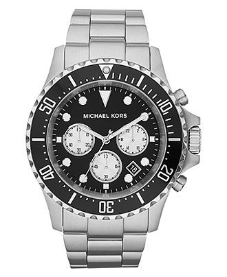 Michael Kors Watch, Men's Chronograph Everest Stainless Steel Bracelet 45mm MK8256 - Men's Watches - Jewelry & Watches - Macy's  Guys should wear spiffy watches!!
