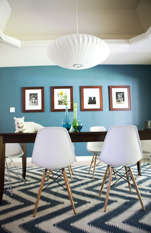 We have a bubble lamp in the adjacent dining room, and like combining midcentury / modern details w/ the classic style.