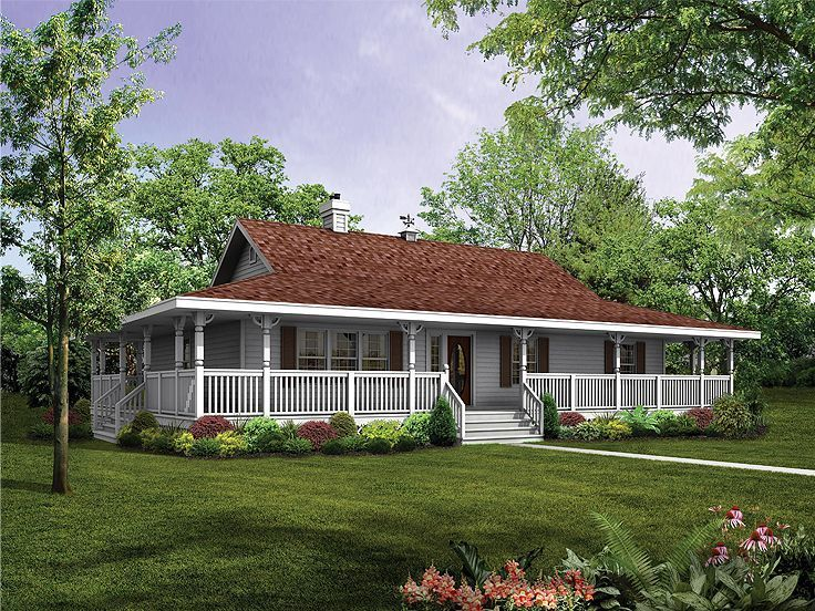 ranch house with wrap around porch and basement - Ranch Home Plans