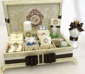 Divina Caixa: Sabonete líquido + caixa kit toillet para festa de casamento