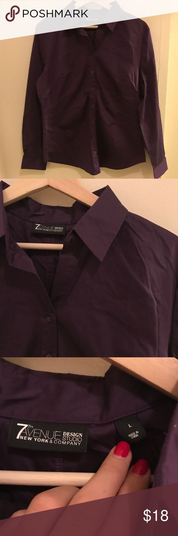 Purple NY&Co dress shirt Perfect condition purple dress shirt from New York and company 7th avenue design studio. It has cute gathering detail on the sides that is super flattering. New York & Company Tops Button Down Shirts