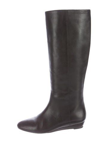 Loeffler Randall Leather Knee-High Wedge Boots