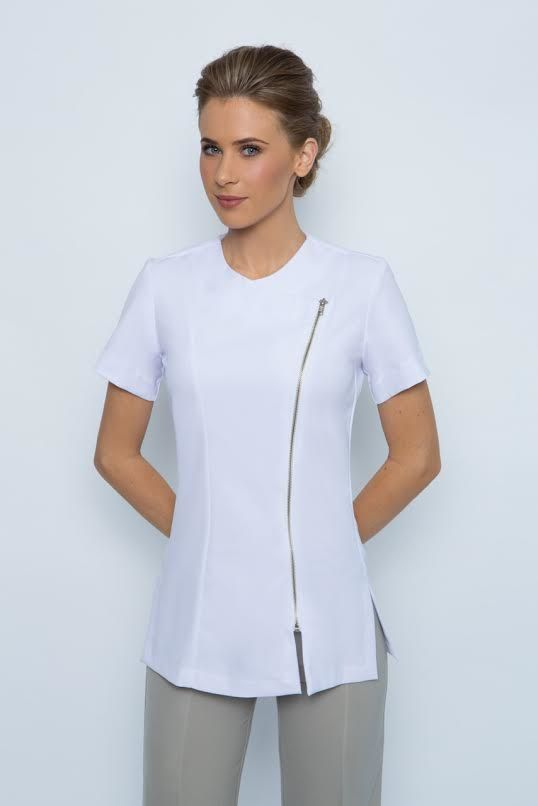 SPA 23 Tunic Zip front, short sleeve. Something a little different, professional yet stylish. Very comfortable made from easy wash and wear corporate grade fabric Available in black or white. Available in sizes 6-24, Ideal as spa uniform, medical uniform, hairdresser uniform or any other work uniform.