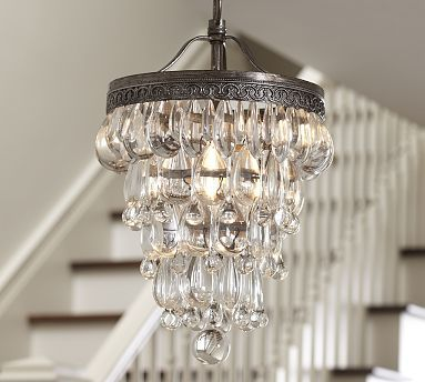 Mini Chandelier For Closet: Clarissa Glass Drop Small Chandelier #potterybarn.... like this idea for the,Lighting