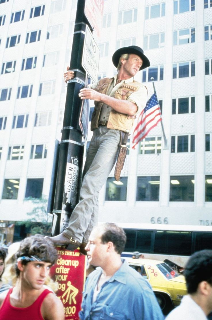 "Paul Hogan as Michael J. 'Crocodile' Dundee in ""Crocodile Dundee"" (1986)"