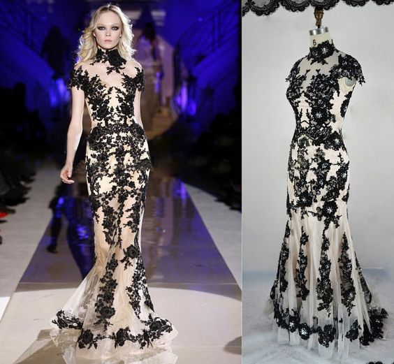 Black White Wedding Gown / Classic Lace Elegant Summer Banquet Dress - Dresses | RebelsMarket