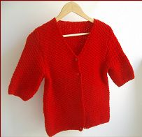 Knitting pattern for a ladies patterned, V neck jacket, with elbow length or long sleeves.