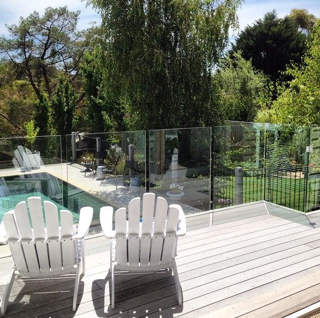 White Washed Decking | Adirondack Chairs | Pool Area | Outdoor Living | Glass Balustrade