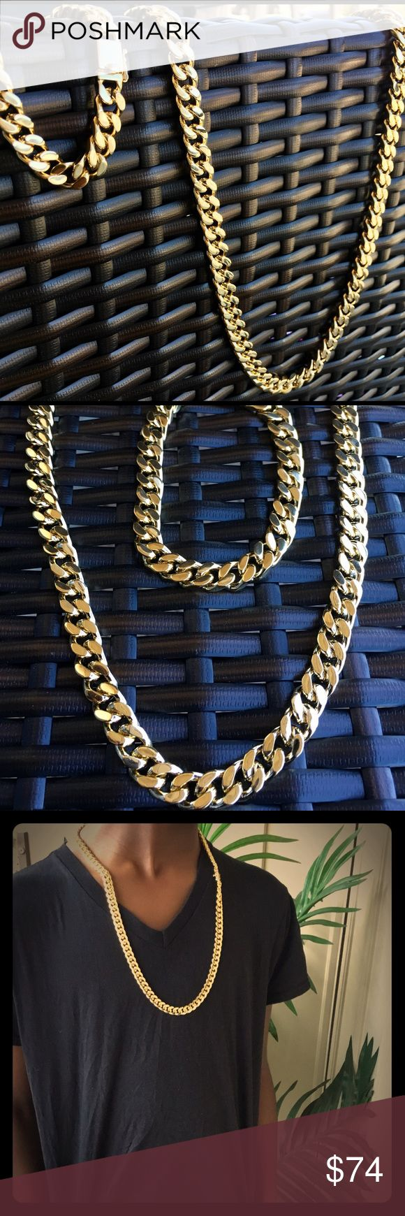 14K Gold Finish Cuban Link Chain & Bracelet Set Brand new never worn before. Chunky Men's Miami Cuban Link Gold Chain and bracelet set. 14k Gold plated Stainless steel. A must for the summer and vacation! 30 inches in length and 14mm thick! Accessories Jewelry