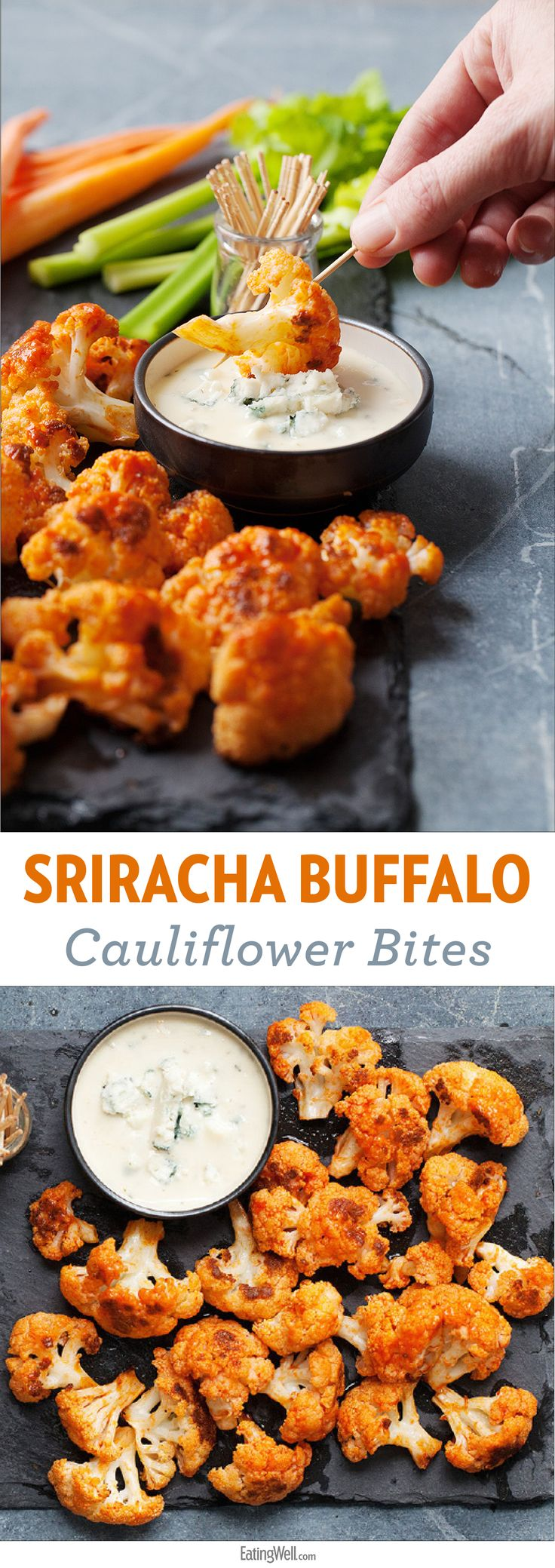 Sriracha Buffalo Cauliflower Bites | This recipe for spicy Buffalo cauliflower bites is a great vegetarian alternative to Buffalo wings. Roasted cauliflower stands in for chicken and provides more fiber and fewer calories. Serve this easy appetizer with carrot sticks, celery and your favorite ranch or blue cheese dressing.
