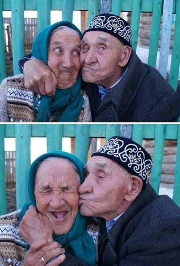 Old Russian couple from Khalilov village, Russia –happily married for 65 years.