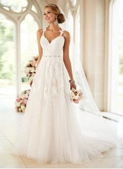 A-Line/Princess Sweetheart Court Train Tulle Wedding Dress With Beading Appliques Lace