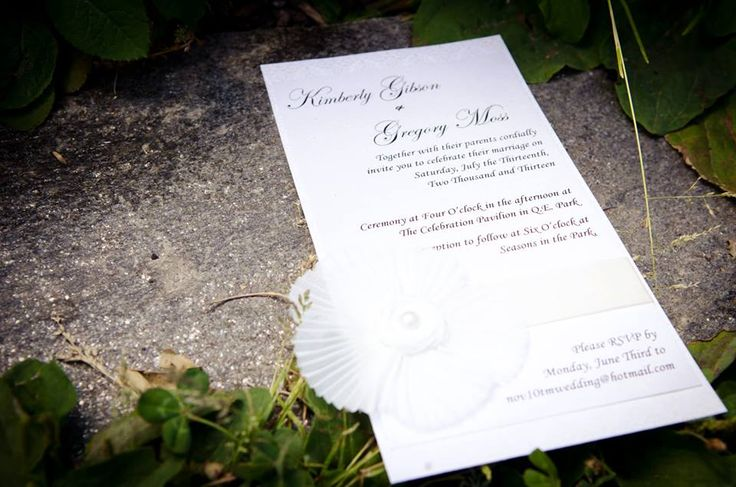 #Vancouver #Wedding #Invitations Classic white/ivory design with cream ribbon and a #handmade silk flower with pearl. http://www.blisspaper.com