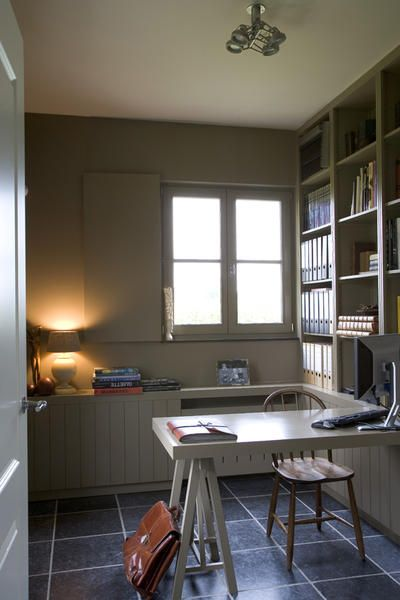 Sawhorse desk built-in