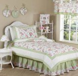 Riley's Roses Chenille Floral Childrens Bedding 4 Piece Girls Twin Set