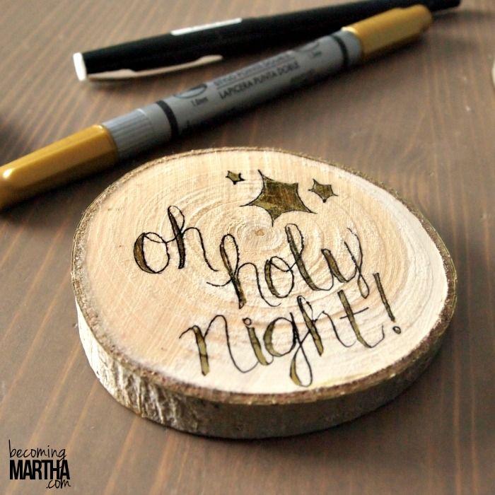 Wood Slice Christmas Ornaments - Becoming Martha