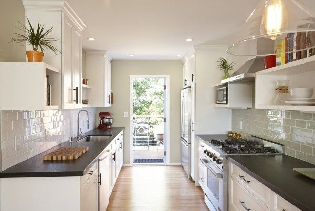 small galley kitchen with outside door - Google Search