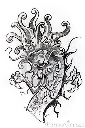 japanese black tattoo sketch - Поиск в Google