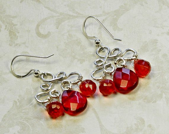 Red Crystal Earrings Sterling Silver Earrings Grenadine Red