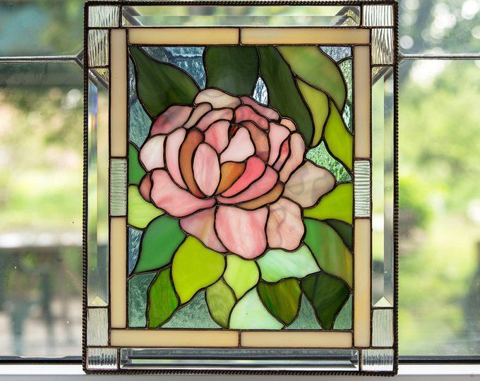 Stained Glass Panel Peony Wall Art Mom Gift Custom Stained Etsy In 2020 Stained Glass Art Stained Glass Flowers Glass Wall Art