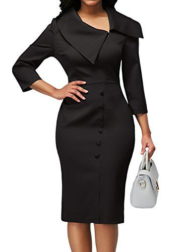 84833835cb1 Women s Elegant 3 4 Sleeve Lapel Wear to Work Business Office Pencil Sheath  Dress Button Knee Length Party Bodycon Black Plus Size XL 16 18