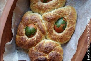 Garnek Rzymski: Wielkanocne bułeczki razowe z kraszankami