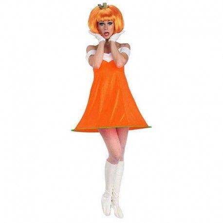 Disfraces Halloween mujer| Disfraz de calabaza con peluca. Contiene vestido con aro inferior para darle vuelo, peluca y cubre botas blancos.Talla M. 14,95€ #calabaza #disfrazcalabaza #disfraz #halloween #disfrazhalloween #disfraces