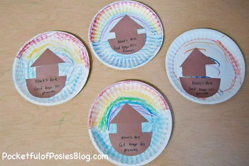 Sunday School Crafts: Noah�s Ark  I asked the children to draw a rainbow at the top of their paper plates and water at the bottom. Then they glued the 3 shapes I had pre-cut to the plate to make an ark.