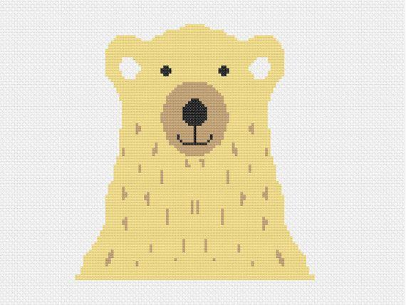 des ours modernes Croix broderie rétro moderne de par futska