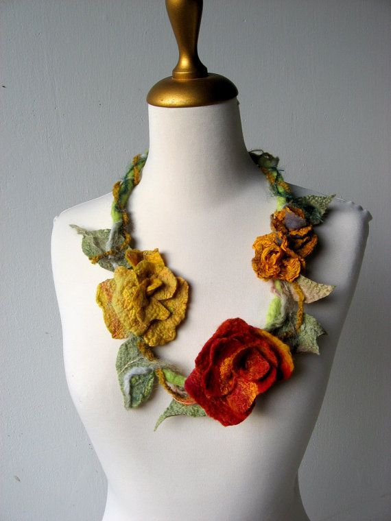 Felted Necklace Faerie Red and Mustard от realfaery на Etsy