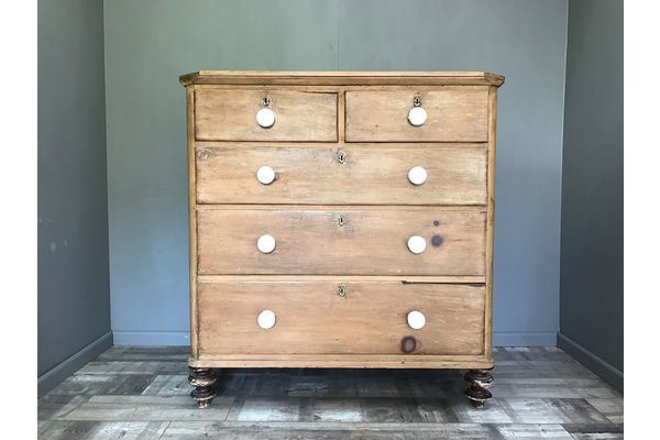 Fantastic Antique Pitch Pine Chest Of Drawers   Vinterior
