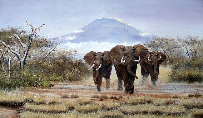 Kilimanjaro Elephants Approaching by Joel Ngoko