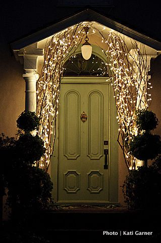 branches with lights at entrance would look great at ChristmasThe Doors, Christmas Time, Trav'Lin Lights, White Lights, Christmas Lights, Front Doors, Christmas Decor, Holiday Decor, Front Porches