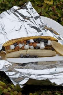 Banana boats!   Looooove this! We used to do this camping ALL the time over the fire! Might have to re live it and make over the BBQ! ;-) -Kimberly