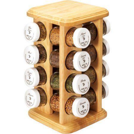 16-Jar Prefilled Beechwood Revolving Spice Rack, Multicolor