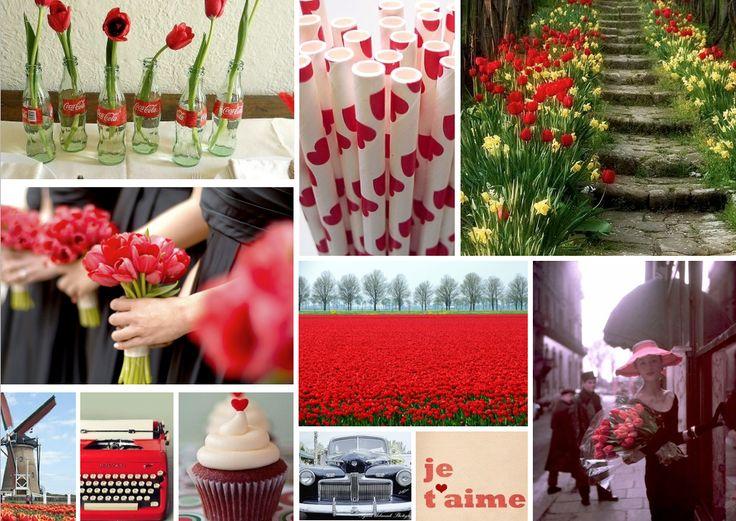 {the black tulip} red and black weddingWedding Inspiration, Tulip Wedding, Tulip Red, Black Weddings, Red Riding Hood, Wedding Ideas, Inspiration Boards, Red Tulip, Black Tulip