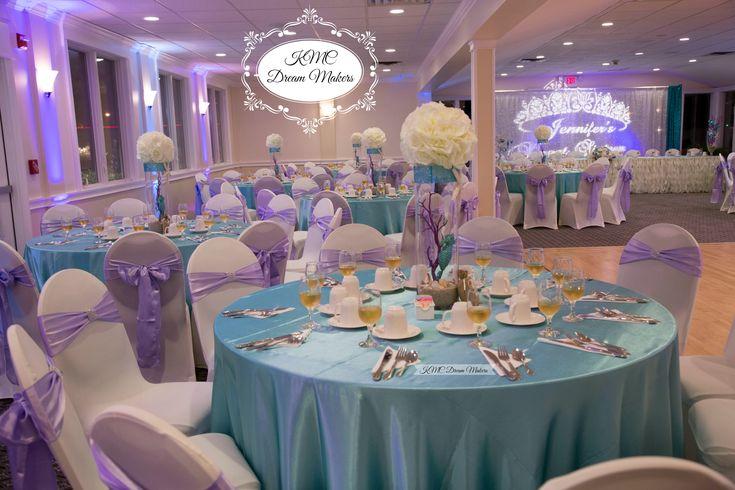 Jennifer's Under the Sea beach themed Sweet Sixteen! #kmcdreammakers   #sweetsixteen #decorations #decor #longisland #newyork #party #partyplanner #beach #sand #shells #beachtheme #quince #weddings #purple #lilac #turquoise #diy #centerpieces #flowers